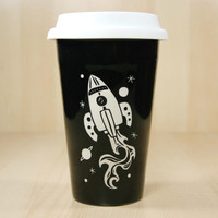 Rocket Ship Travel Mug - insulated BLACK ceramic to-go cup - soft BPA-free lid