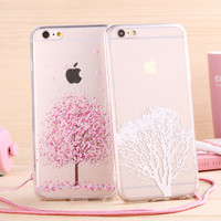 Japanese Sweet Cherry Clossom Phone Case soft TPU for Apple iphone 6 Case 4.7'' Transparent back cover with lanyard
