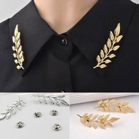 LNRRABC Fashion Women  Gold Color Leaf Collar Pin Creative Shirt Brooch Jewelry Christmas Gift broches jewelry broches mujer