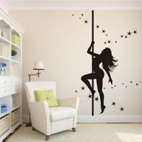 ZooYoo Sexy Woman Pole Dancing Quote Wall Sticker