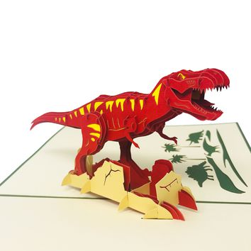 Wow T-Rex Dinosaur - 3D Pop Up Greeting Card for All Occasions Birthday, Love, Congratulations, Good luck, Anniversary, Father day, Cool Fun Kids, Jurassic Tinosaurus - Premium Paper, Handcrafted