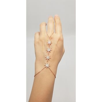 Four Stars Slave Bracelet Adjustable Hand Chain| 925 Sterling Silver