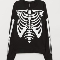 Sweatshirt with Printed Design - Black/skeleton - Ladies | H&M US