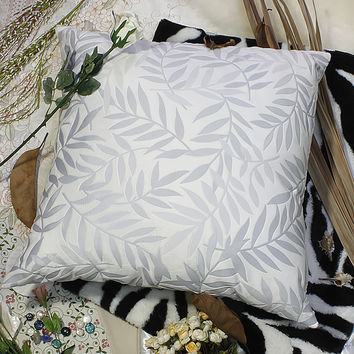 [Antique Blue Palm] Decorative Pillow Cushion / Floor Cushion (23.6 by 23.6 inches)