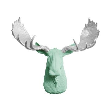 The Alberta | Moose Head | Faux Taxidermy | Mint Green + Silver Antlers Resin