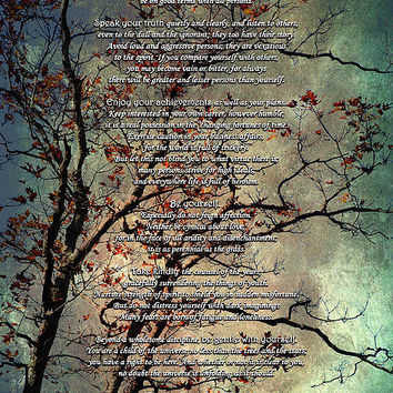 Desiderata Inspiration Over Old Textured Tree Print