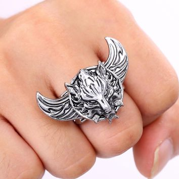 J Store Game Final Fantasy Wolf Logo Rotatable Rings for Women With Angel Wings Zinc Alloy Ring Brand Antique Men Jewelry