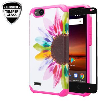 ZTE Tempo X Case, Tempo Go, Blade Vantage, Avid 4, ZFive C, ZFive G, N9137, Z557BL, Z558VL,[Include Temper Glass Screen Protector] Slim Hybrid Dual Layer [Shock Resistant] Case for Tempo X - Vivid Sunflower