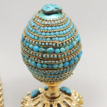 Turquoise Egg Jewelry Box, Natural Turquoise Faberge Style Decorated Egg