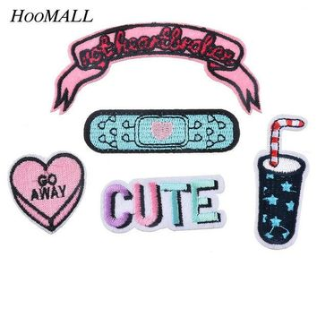 ac NOOW2 Hoomall Mixed 5PCs Iron-on Patches Applications Badge Applique For Clothes Embroidery Letter Car Drink Heart Sewing Accessories