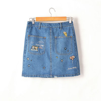 CK443 Fashion Bodycon Slim Denim Jeans Skirt Women Character Geometric Skirts With Embroidery Sexy Casual Pockets Pencil Skirt