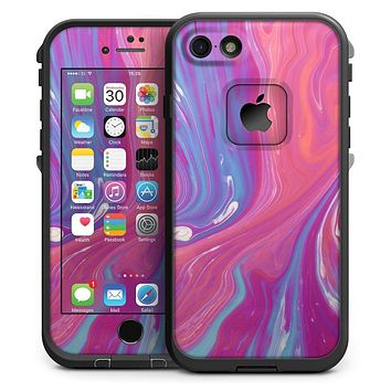 Marbleized Pink and Blue v391 - iPhone 7 LifeProof Fre Case Skin Kit
