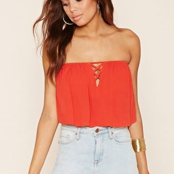 Flounced Gauze Crop Top