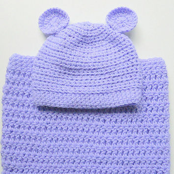Lavender Baby Cocoon And Hat With Ears Newborn Boy Pastel Purple Snuggle  Sleep Sack With Cap   Infant Girl Lilac Bunting And Beanie Set