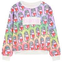 Multicolor Tie-dye Letter And Ice Cream Print Sweatshirt