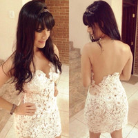 White Crochet Sexy Bandage Dress backless Prom Party dress