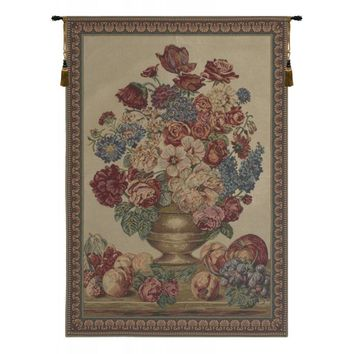 Vase on Beige Mini Tapestry Wall Hanging