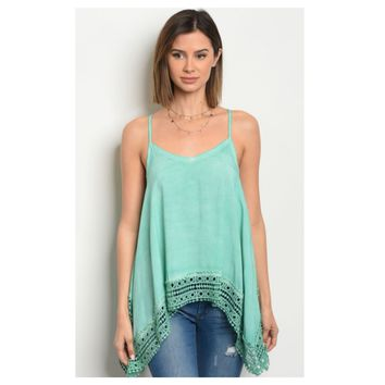 """Adorable Me"" Vibrant Mint Lace Trim Tank Top"