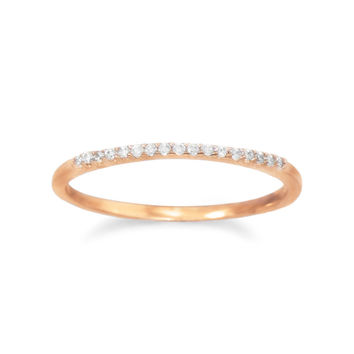 18 Karat Rose Gold Plated Thin Cubic Zirconia Ring