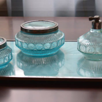 ON SALE - Art Deco Beautiful Aqua and Chrome Vanity Set with Tray/ Vanity Tray/ Cream Jars/ Perfume Antomizer