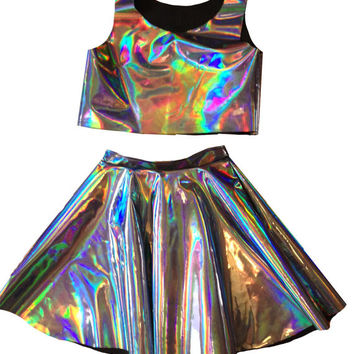 ChainCandy Holographic Hologram PU Leather High Waisted Circle Skirt with Cropped Top