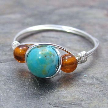 Kingman Turquoise & Baltic Amber Sterling Silver Wire Wrapped Ring ANY size