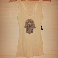 Hamsa Natural Racer Back Tank