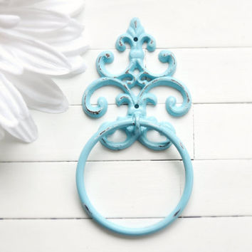 Aqua Towel Holder / Towel Ring / Towel Rack / Outdoor Kitchen / Towel Hanger / Bar Towel Holder / Hand Towel Holder