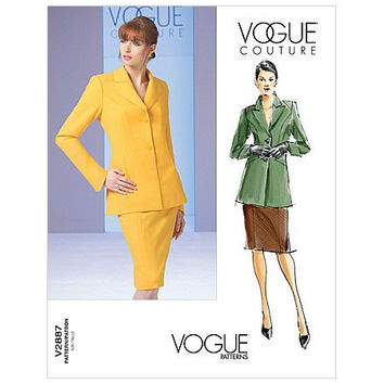 Vogue Couture 2887 SUIT SKIRT JACKET Pattern Modern Contemporary Below Hip Jacket Size 12 14 16 Bust 34 36 38 UnCUT Women's Sewing Patterns