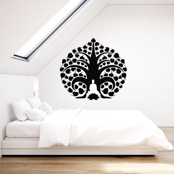 Vinyl Wall Decal Buddha Tree Meditation Zen Buddhism Room Art Decor Stickers Mural (ig5269)