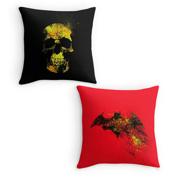 Black and Red Scatter Cushions, Skull, Bat Sign Throw Pillow, Bright, Boys Room, Man Cave