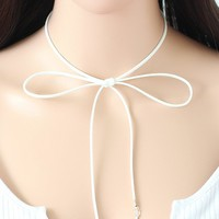 Casual Leather Line Star Long Choker Necklace