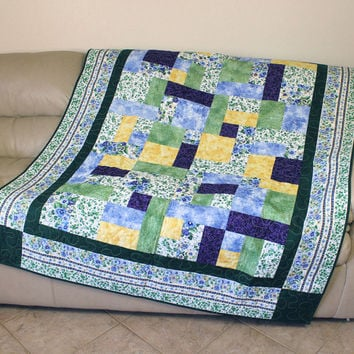Pansy Sofa Throw - Lap Quilt - Bed Topper - Dorm Quilt - with Purple, Green and Yellow - MADE TO ORDER