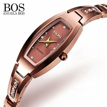 ANGELA BOS Luxury Tungsten Steel Sapphire Ladies Watch With Rhinestones 30m Shockproof Waterproof Watch Women Rose Gold Watch