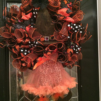 Deluxe Wicked Witch Halloween Wreath, Halloween Decoration, Halloween Door Hanger