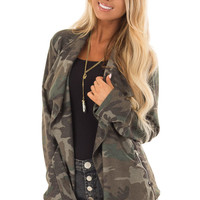 Camo Open Front Light Weight Jacket with Zip Up Pockets