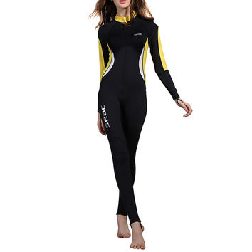 S012 S013 S014 S015 One-piece Diving Suit Surfing Wetsuit   yellow   XXS