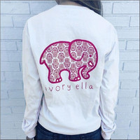 Spring Summer  fashion  Ivory Ella T-shirt Women Tops Tee Print Animal Elephant T Shirt Loose Long Sleeve Harajuku Tops #093