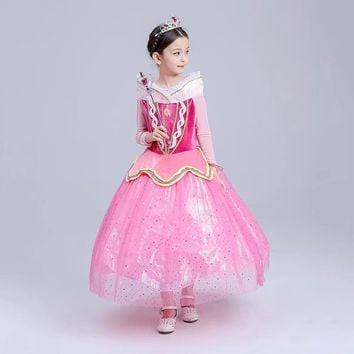 Princess Costume - Barbie Pink Long Sleeve Bubble Gown Skirt Aurora Dress - 👗💘👑🎃👠