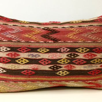 "Kilim pillow, 16X24"" Rug Cushion, Rustic Throw pillows, Kelim Kussen, Kilim pillow, Bohemian Vintage pillow, Ethnic Pillow, Rug Pillow Cover"