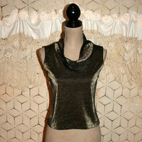 Vintage Metallic Tank Top Gold Bronze Copper Sleeveless Cropped Club Top Cowl Neck Retro 60s Style Cocktail Blouse Small Womens Clothing