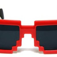Red New Trendy Pixel Shape Wayfarer Sunglasses