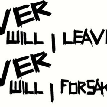 Never will I leave you, Never will I forsake you - Bible verse wall decal.  Hebrews 13:5.  Exclusively from Scripture Wall Art