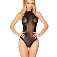 Black Semi Sheer Striped Rave Bodysuit