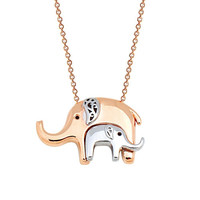 Two Elephants Mother and Child Elephant 14k Solid Gold Necklace Rose Gold White Gold