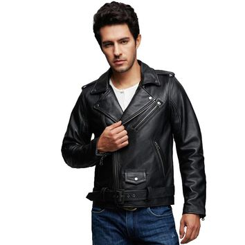 Factory 2016 New Genuine Leather Jacket Men Real Calf Cow Skin Punk Rock Bomber Motorcycle Biker Coat Winter Chaqueta Jaqueta