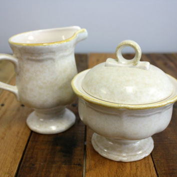 Vintage Early 1980s Mikasa Country Charm FG000 Cream Pitcher and Sugar Bowl with Lid - Mottled Beige with Brown Trim