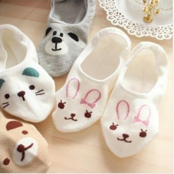 2017 New Women Cute Socks Bunny Cat Bear Slippers Invisible Candy Color Socks
