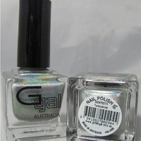 Glitter Gal Silver Holographic 15 ML Nail Polish - Turbulence 3D - .5 Fluid Ounce (15ml) Bottle