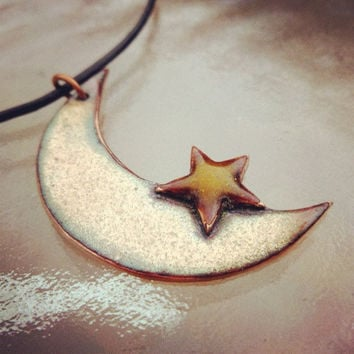 Enamel Crescent Moon & Star Necklace